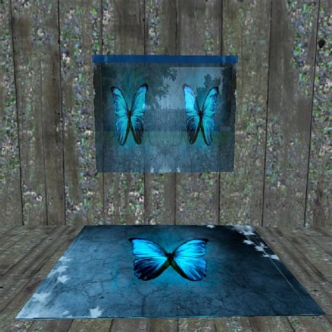 matching rug and curtains second life marketplace blue butterfly matching curtain