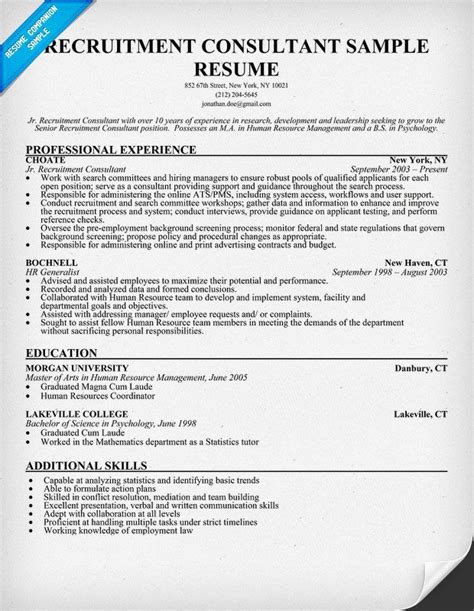 Recruitment Consultant Sle Resume by Recruitment Consultant Resume Sle Recruitment Resume And Resume Exles