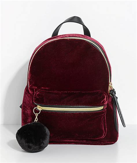 Velvet Mini Backpack burgundy velvet mini backpack zumiez