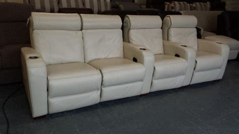 used sofa birmingham ex display frontrow cream leather 4 seater electric