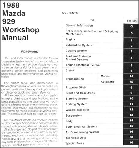 car repair manuals online pdf 1988 mazda 929 user handbook 1988 mazda 929 repair shop manual original
