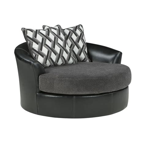 oversized swivel chair kumasi oversized swivel accent faux leather chair in smoke 3220221