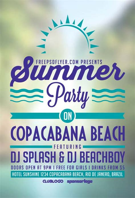 download summer beach party free flyer template