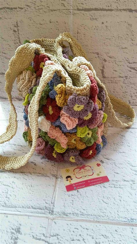 Totebag Dannis Bunga flavy craft tote bag rajut bunga klasik
