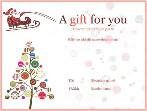 Holiday Gift Certificate Templates   Certificate Templates