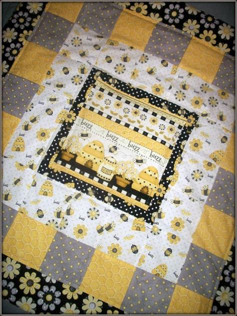 Quilt Bee by Modern Baby Yellow Black Grey And White Bumble Bee Quilt