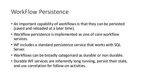 workflow persistence work flow foundation persistence
