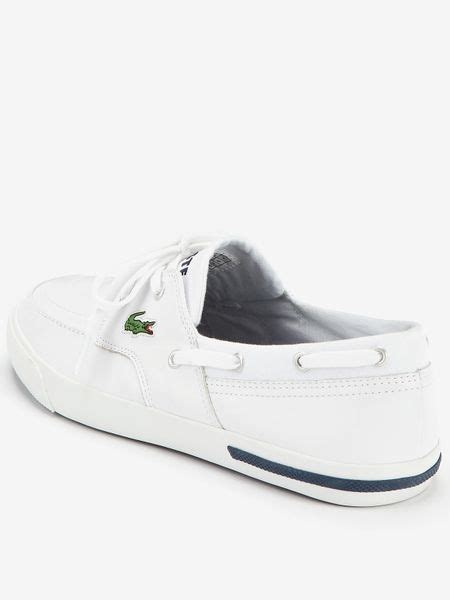 lacoste mens newton boat shoes in white for lyst