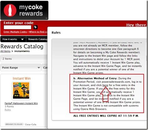 Coke Rewards Hotel Gift Card - free instant win entries on my coke rewards points miles martinis