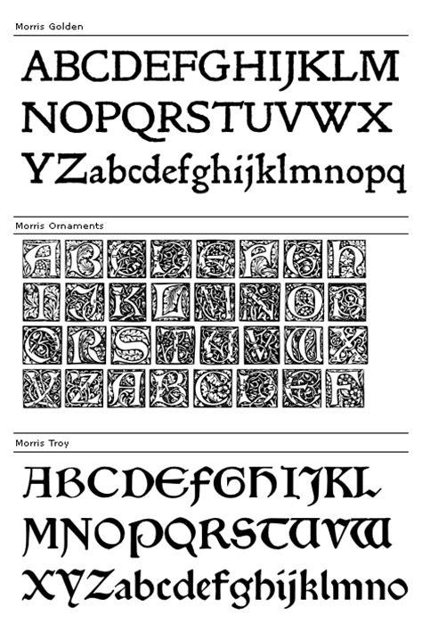 william morris set  typefaces fonts
