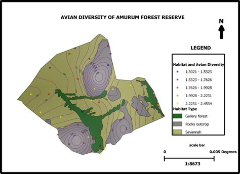 qgis print layout amurum forest reserve habitat and avifauna mapping with