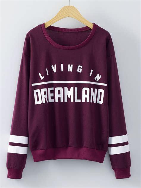 Sweatshirt Print burgundy neck letters print sweatshirt shein sheinside