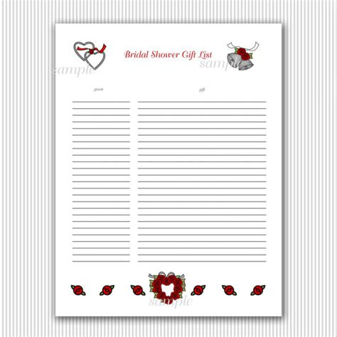 printable bridal shower list items similar to immediate download red roses bridal