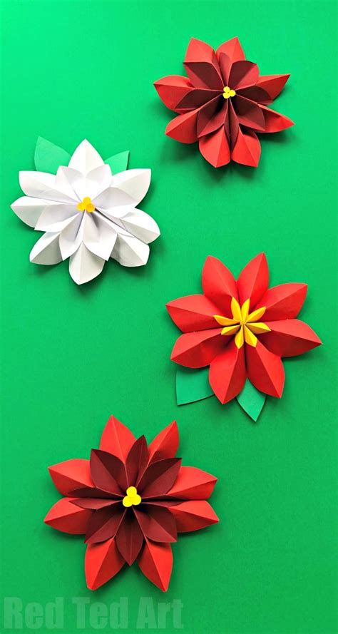 How To Make Easy Paper Flowers For Cards - easy paper flowers poinsettia ted s