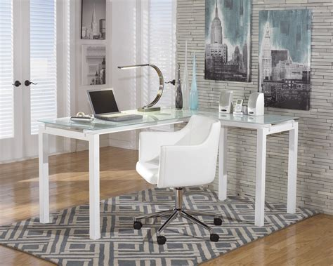 ashley furniture white desk signature design by ashley baraga white finish metal l