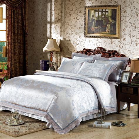 Silver And Gold Bedding Sets Luxury Jacquard Silver Gold Pink Satin Bedding Set King Size High Quality Duvet Cover