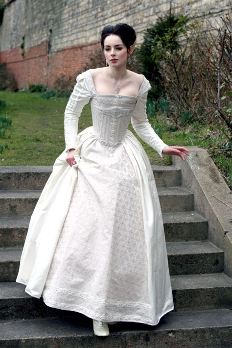 White Silk Wedding Dresses by Sale White Silk Elizabethan Wedding Gown With By