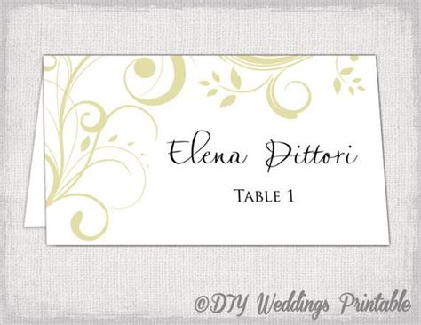 Gold Place Card Template Scroll Name Cards Diy Name Place Cards Template