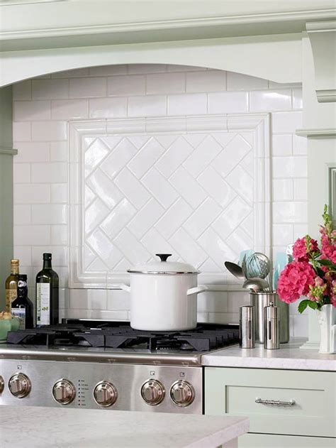 subway tile herringbone pattern cottage kitchen bhg