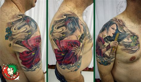geisha tattoo for men japanese geisha for on shoulder