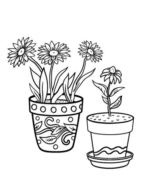 coloring page flower pot printable flower pot coloring page free pdf at