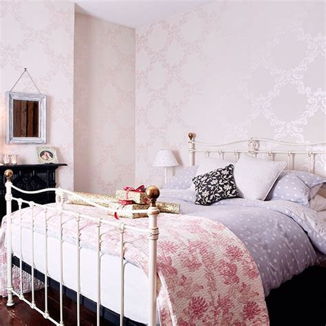 Pale Pink Bedroom With Iron Bedstead Decorating