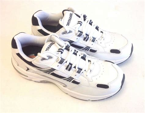 orthaheel s walker white navy leather casual sneakers w arch support ebay