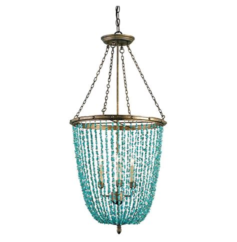 Annette Contemporary Turquoise Beaded 3 Light Chandelier Turquoise Lights