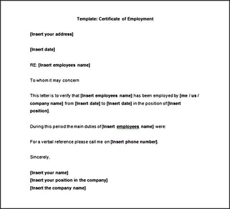 free template certificate of employment sle sle