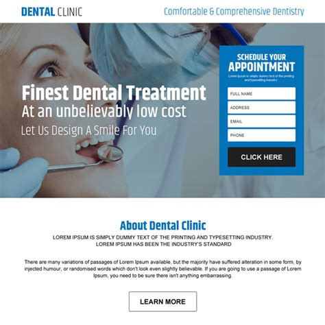 Dental Care Landing Page Design Templates To Capture Leads Dental Landing Page Template