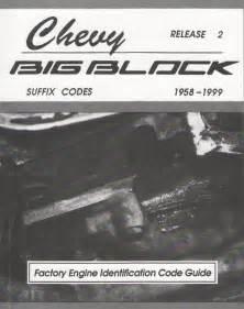 chevy big block suffix codes 348 396 402 409 427