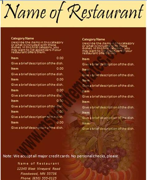 free restaurant menu templates 16 free cafe menu design templates images free