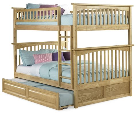 full over full bunk beds with trundle save big on natural maple columbia full over full bunk bed