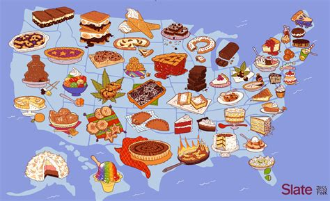 food map of the united states united of america map a dessert for every state in