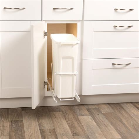 sliding trash can sink 35 qt in cabinet single pull out trash can sink