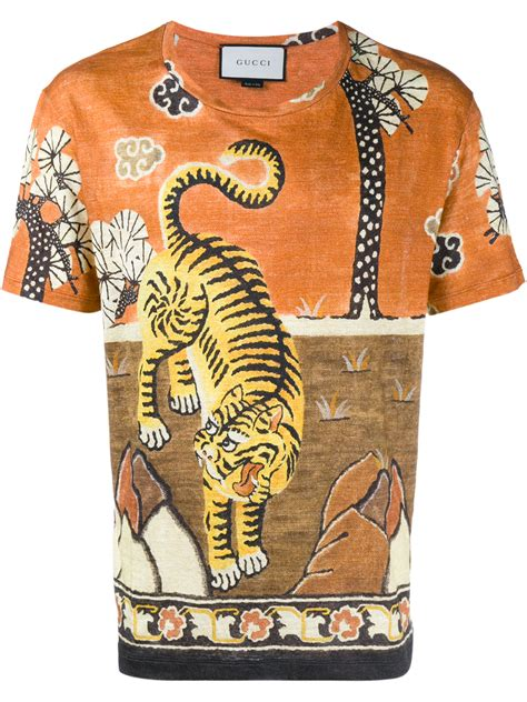 replica brown frye 9 jersey p 827 gucci tiger print linen jersey t shirt in orange for