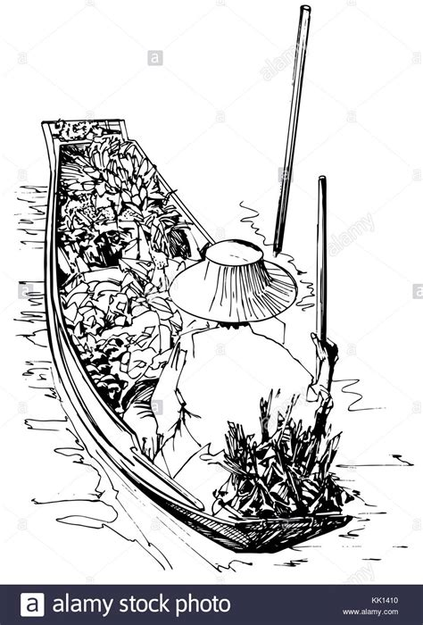 thai boat drawing exotic vegetable black and white stock photos images alamy