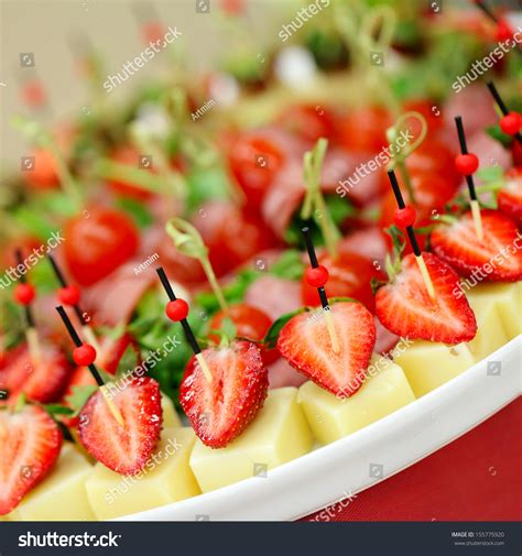 canape service appetizers gourmet food canape cheese strawberries stock