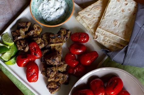 Beef Kebab Size Medium kabab chenjeh grilled saffron beef kebab with blistered tomatoes