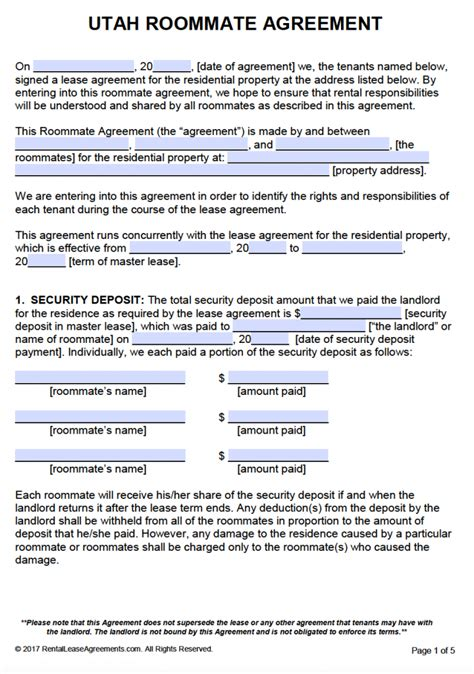 template of lease agreement free utah roommate agreement template pdf word