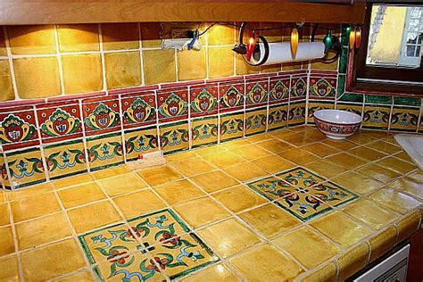 Kitchen Tile Murals Tile Art Backsplashes by Mexican Tile Vanity Countertop Closeup Mexican Home Decor