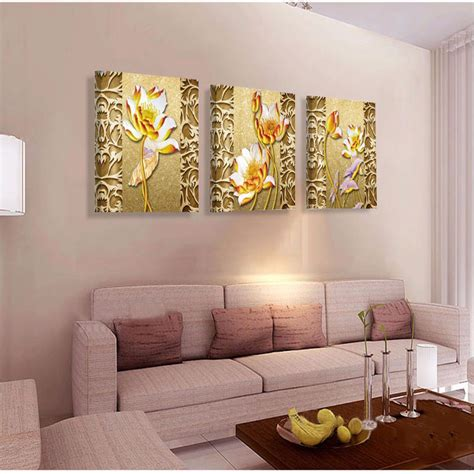 cheap paintings for living room no frame golden lotus cheap modern paintings on canvas wall picture for living room home