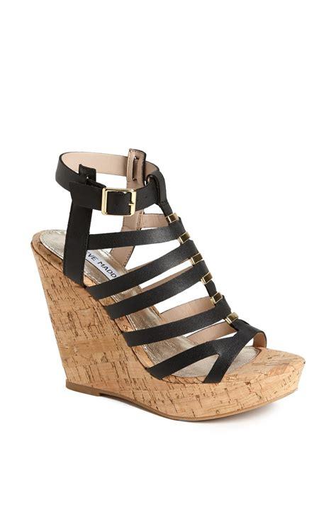 steve madden indyanna wedge sandal in black lyst