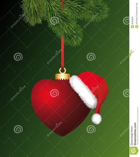 heart  santa claus hat hanging   christma stock