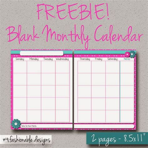 printable page monthly calendar spring flowers
