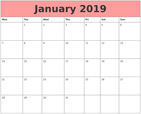 Calendars That Work With January 2019 Calendars That Work