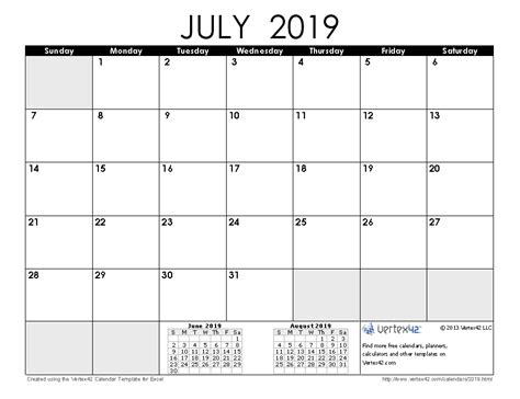 Calendar 2019 July 2019 Calendar Templates And Images