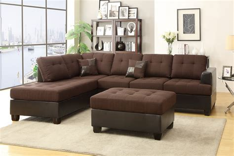 Sectional Sofa Ottoman Poundex Moss F7602 Brown Leather Sectional Sofa And Ottoman A Sofa Furniture Outlet Los