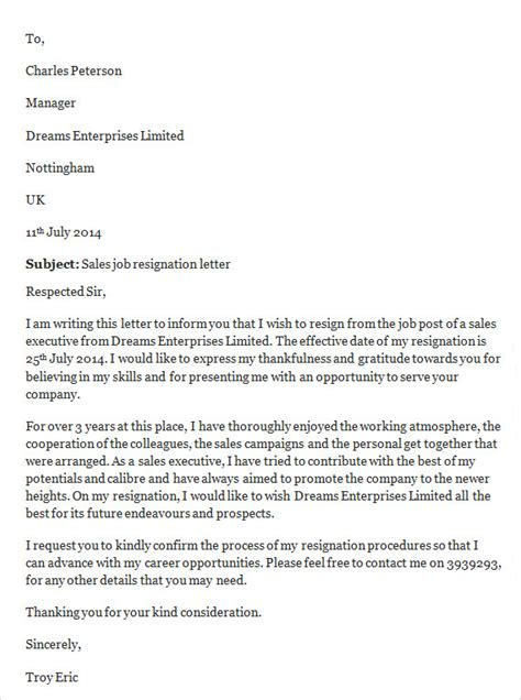 Resignation Letter Sle Copy Sle Resignation Letter Template 14 Free Documents In Word Pdf