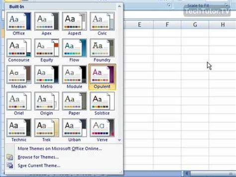 excel color themes 2013 using document themes in excel 2007 youtube